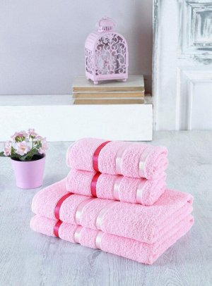 Набор полотенец в мягкой упаковке из 4-х предметов розовый (50*90-2шт; 70*140-2шт)
