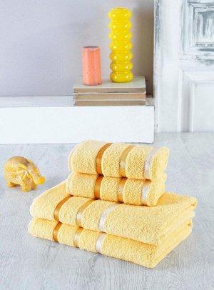Набор полотенец в мягкой упаковке из 4-х предметов желтый (50*90-2шт; 70*140-2шт)