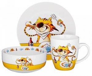 """Набор детской посуды """"Полосатый кот"""""""