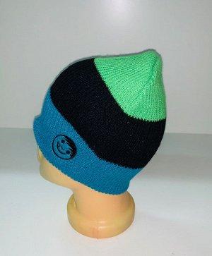 Шапка Трехцветная шапка со смайликом  №1821