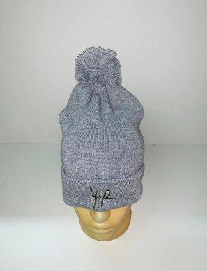 Шапка Шапка с помпоном серого цвета  №3917