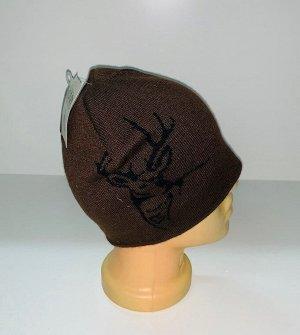 Шапка Коричневая шапка с оленем  №1685