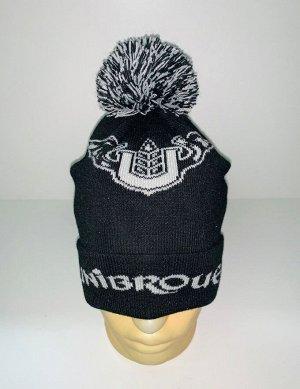 Шапка Черная шапка с белым узором  №3879