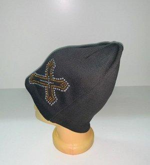 Шапка Темная шапка с пайетками  №1684