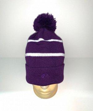 Шапка Фиолетовая шапка с помпоном  №3892