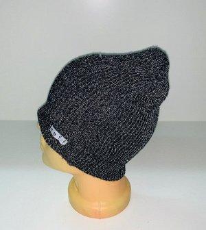 Шапка Серая меланжевая шапка  №1593