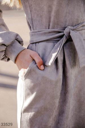 Замшевое платье-миди