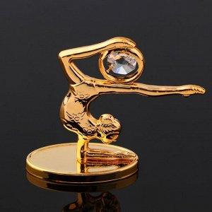 """Сувенир """"Гимнастка с мячем"""" на зеркальной подставке, с  кристаллами Сваровски, 8,5х6,5х3 см"""