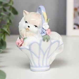 """Сувенир керамика """"Котёнок в корзинке"""" 10.7х8.3х5.2 см"""