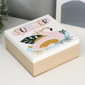 """Шкатулка дерево """"Фламинго - надувной круг"""" 7,5х18х18 см"""