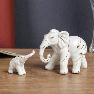 "Сувенир керамика ""Слониха со слонёнком"" белые набор 2 шт 10,5х19,5х7 см"
