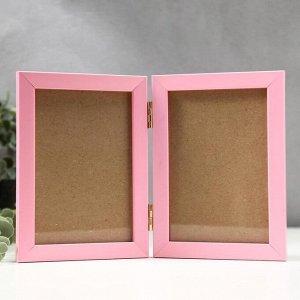 Фоторамка пластик 10х15 двойная, розовый