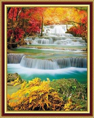 Алмазная живопись - мозаика Осенний каскад водопадов