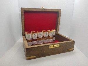 НАБОР Мини-дезодорантов масляно-смоляных в подарочной деревянной шкатулке с инкрустацией Habibi