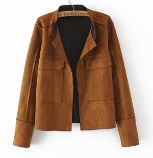 Куртка из эко замши коричневая