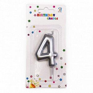 """Свеча для торта """"Цифра 4"""", серебряная 6 см"""