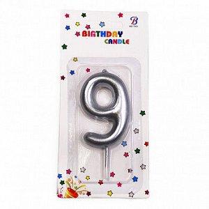 """Свеча для торта """"Цифра 9"""", серебряная 6 см"""