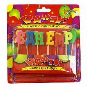 """Свечи для торта """"С днем рождения"""", party буквы цветные 2,5 см"""