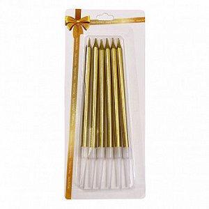 """Свечи для торта """"Классика"""", набор 6 штук, золотые 10 см"""