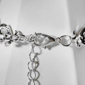 """Браслет со стразами """"Лёд"""" сердечки, цвет белый в серебре ,L= 18"""