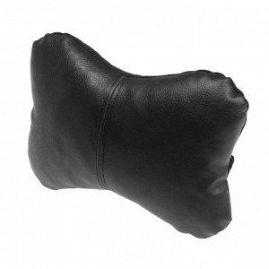 Подушка автомобильная косточка, на подголовник, экокожа, черный, 16х24 см