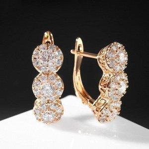 """Серьги со стразами """"Дорожка"""" три крупных кристалла, цвет белый в золоте"""
