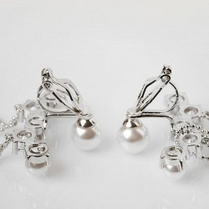 """Серьги с жемчугом """"Подвисные нити"""" корона, цвет белый в серебре"""