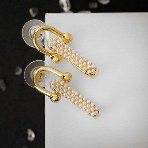 """Серьги с жемчугом """"Арка"""" двойная, цвет белый в золоте, h=2,5"""