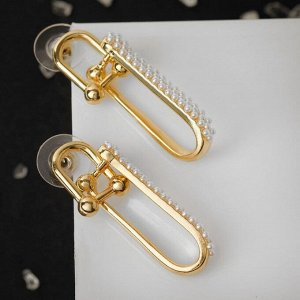 """Серьги с жемчугом """"Арка"""" двойная, цвет белый в золоте, h=3,5"""