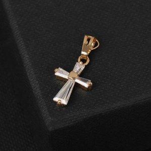 """Подвеска """"Крестик"""" прямые грани, цвет белый в золоте, L=2,2 см"""