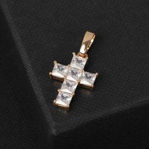 """Подвеска """"Крестик""""  цвет белый в золоте, L=2,5 см"""