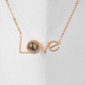 """Кулон """"Я тебя люблю"""" на разных языках, цвет коричневый в золоте L=45"""