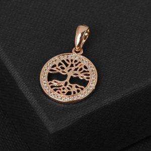 """Подвеска """"Дерево"""" в круге, цвет белый в золоте, L=1,6 см"""