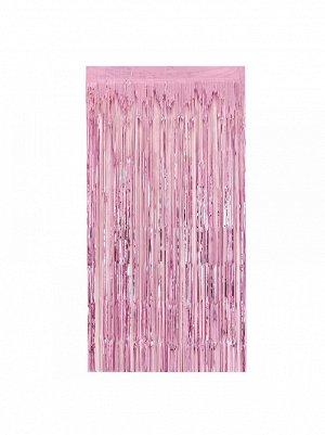 Занавес сатин на скотче цвет розовый