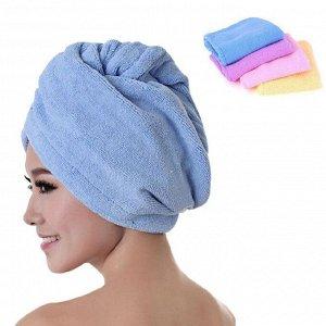 Полотенце для волос – тюрбан из микрофибры, с петелькой и пуговицей для застежки, цвета в ассортименте