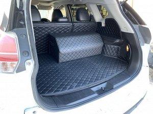 Органайзер Большой Эко Кожа в багажник авто Черный с черной строчкой Akuma
