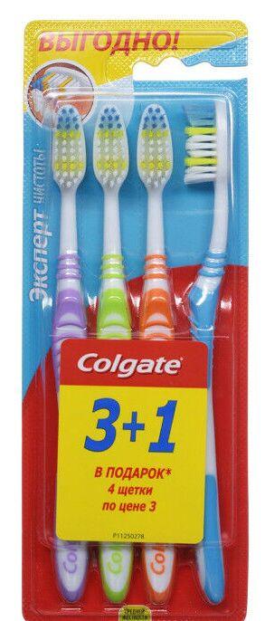 """Набор зубных щеток КОЛГЕЙТ """"Эксперт Чистоты"""" средняя жестк.3+1"""