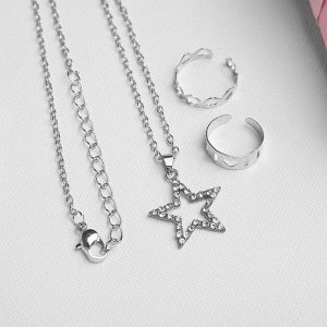 """Набор детский """"Выбражулька"""" 3 предмета: кулон 40 см, 2 кольца, звезда, цвет белый в серебре"""