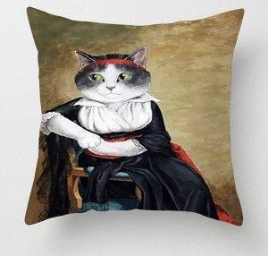 """Наволочка на подушку, принт """"Кошка в платье"""""""