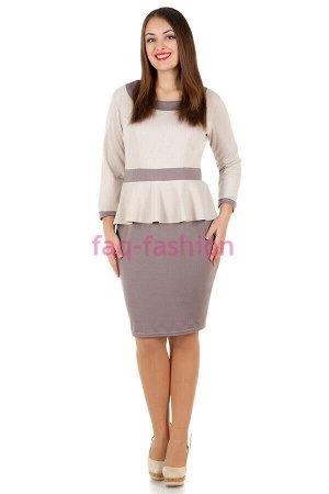 Платье БР Sindy Молочный+Дымчато-серый