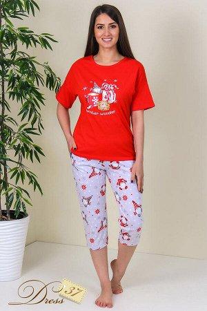 Пижама «Нола» бриджи красная