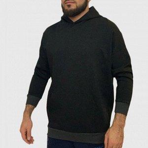 Теплая мужская толстовка худи – современный стрит кэжуал с глубоким капюшоном №94