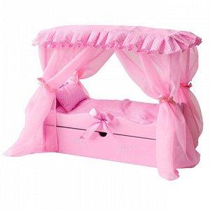 Кроватка с царским балдахином с постельным бельем ,ящиком 72219