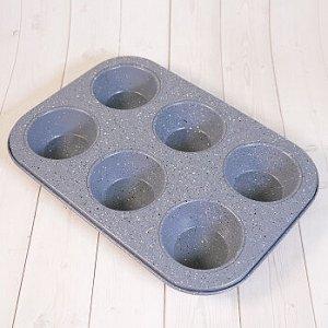 Форма для выпечки кексов 6 ячеек 18*26 см, Гранит