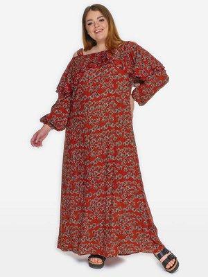 Платье с двойным воланом по горловине, штапель принт терракотовый