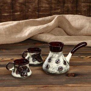 "Кофейный набор ""Кофе"", 3 предмета: турка 0.7 л, чашки 0.25 л"