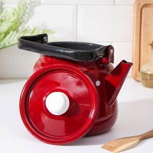 Чайник с кнопкой 3,5 л, цвет вишнёвый-чёрный