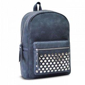 Рюкзак синий с заклепками звездами 35х26х16см 48362