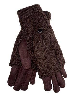 Велюровые перчатки с шерстяными митенками, цвет шоколад