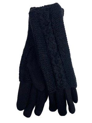 Женские текстильные перчатки с шерстяными митенками, цвет чёрный